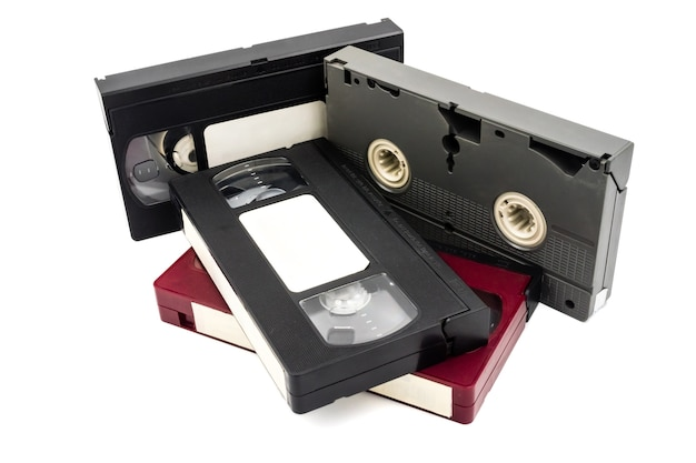 Video cassette tapes on white background. Premium Photo