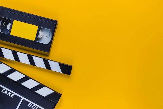 Videotape  with clapperboard Free Photo