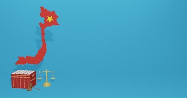 Закон вьетнама для инфографики, контента социальных сетей в 3d-рендеринге Premium Фотографии