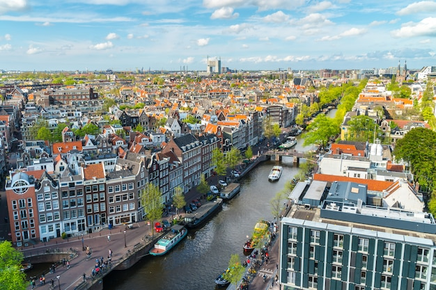 View of amsterdam with canals Premium Photo