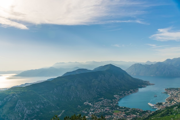A view of the ancient city of kotor and the boka kotorska bay from the top of the mountain. Premium Photo