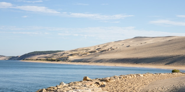 View of the arcachon bay and the pilat sand dune of pyla aquitaine france Premium Photo
