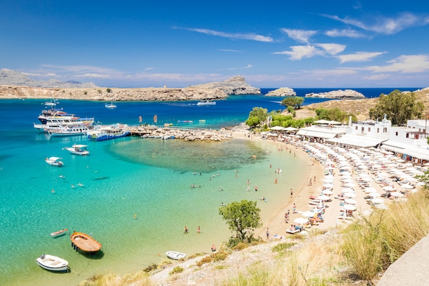 View of the beach in lindos town. rhodes, greece Premium Photo