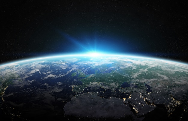 View of blue planet earth in space 3d rendering Premium Photo
