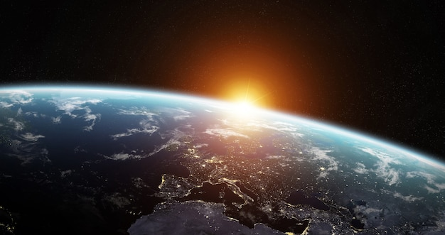 View of blue planet earth in space Premium Photo