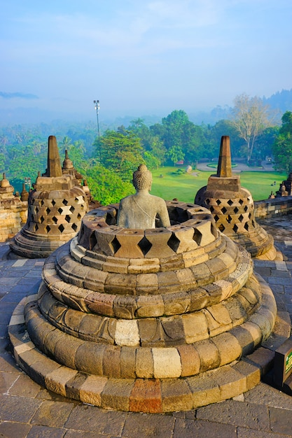 View of borobudur, the world largest buddhist temple Premium Photo