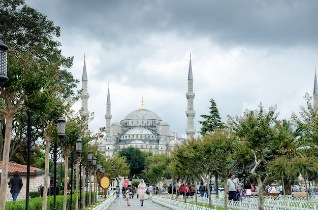 View of the building, the blue mosque, sultanahmet mosque Premium Photo