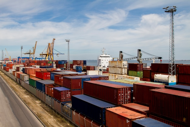 View of cargo container docks located in lisbon, portugal. Premium Photo