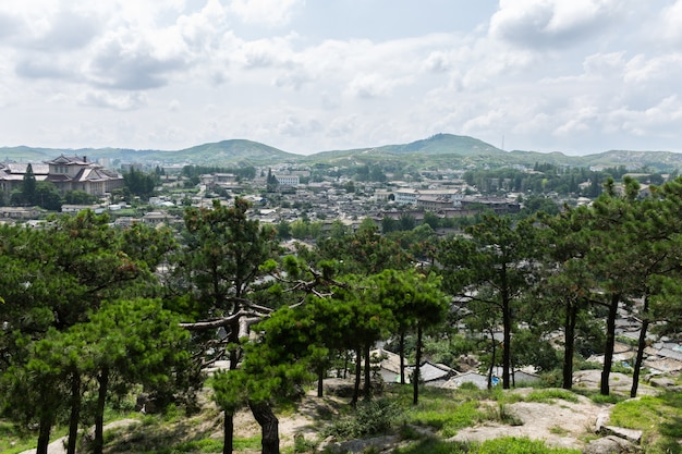 View of the city of kaesong, north korea Premium Photo
