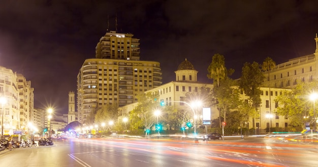 View of city street in night. valencia, spain Free Photo