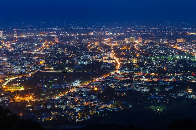 View cityscape over the city center of chiang mai Premium Photo