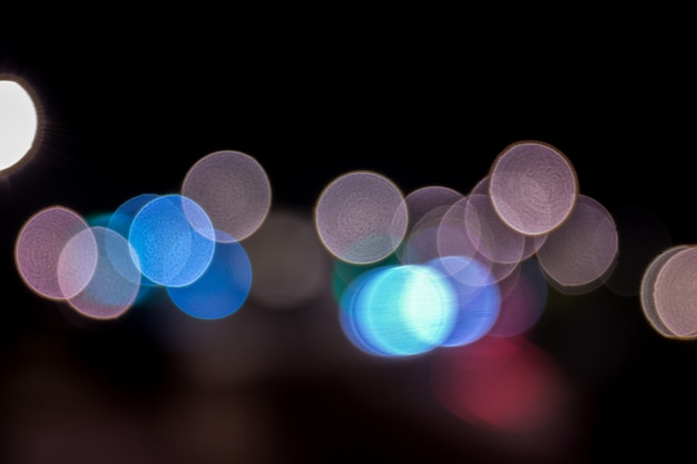 View of colorful defused bokeh city lights. Premium Photo