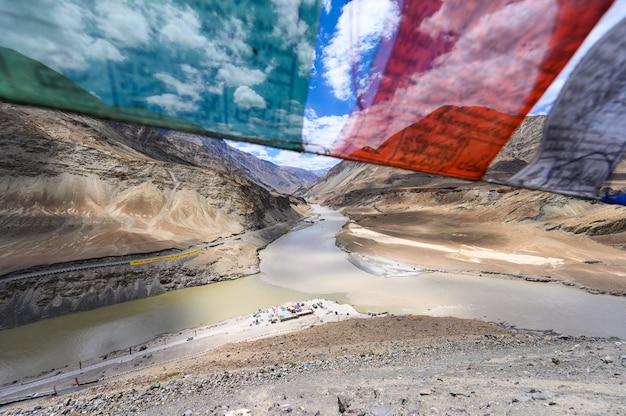 View of confluence of the indus and zanskar rivers in leh, ladakh region, india Premium Photo