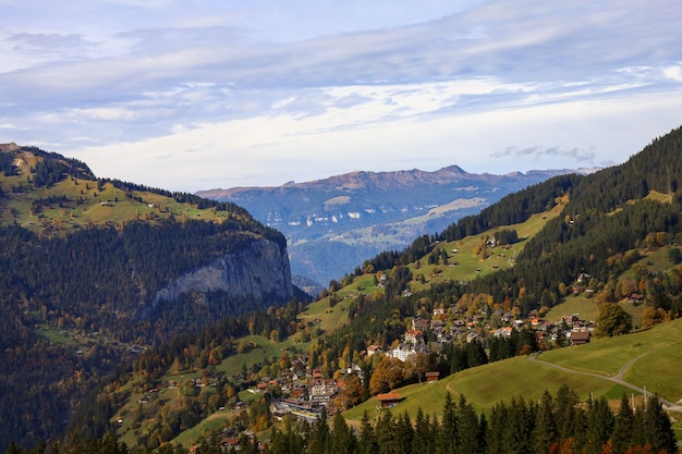 View of country village in nature and environment at swiss from train down hill jungfrau mountain Premium Photo