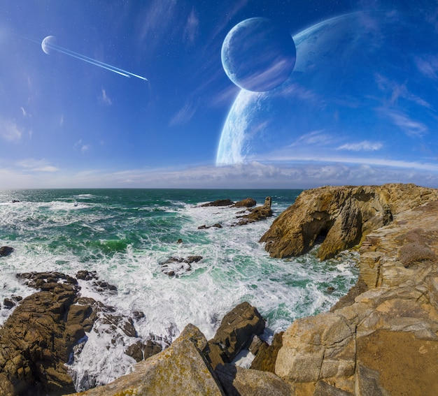 View of distant planet system from cliffs Premium Photo