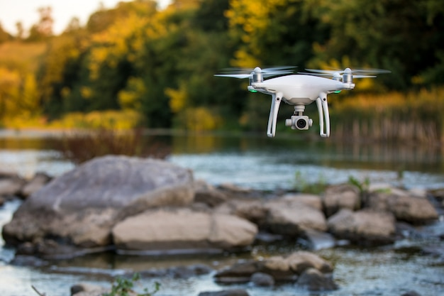 View of drone flying over river Premium Photo