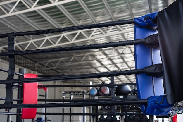 View of empty boxing ring in fitness gym Premium Photo