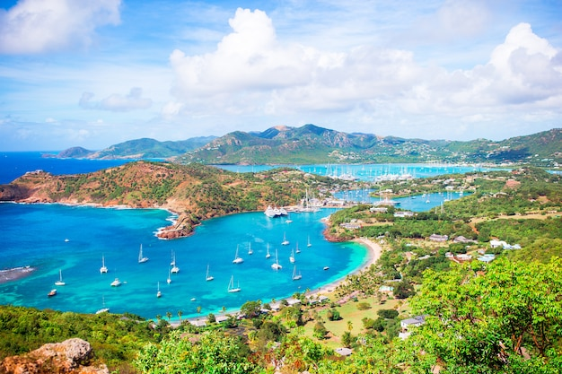View of english harbor from shirley heights, antigua, paradise bay at tropical island in the caribbean sea Premium Photo