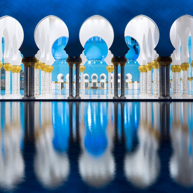 View of famous grand mosque, abu dhabi, by night, uae. Free Photo