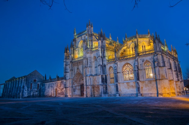 View of the famous landmark, monastery of batalha, portugal. Premium Photo