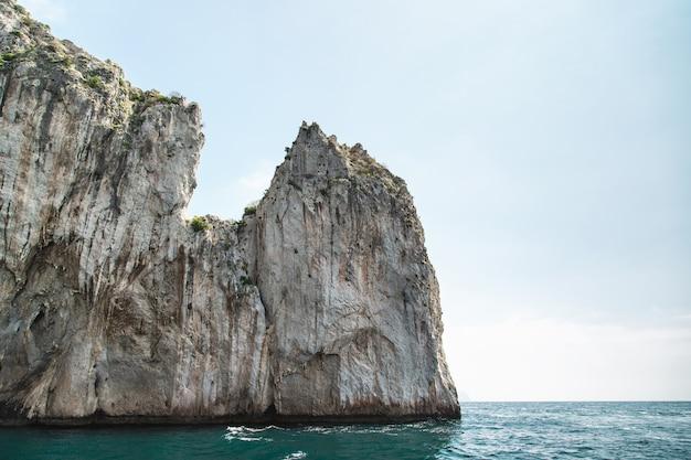 View from the boat on capri island coast. italy. Premium Photo