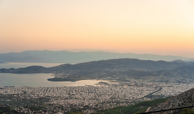 View from the high mountains the coastal city. makrinitsa Free Photo