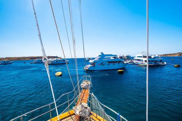 View from motor yacht on blue sea Premium Photo