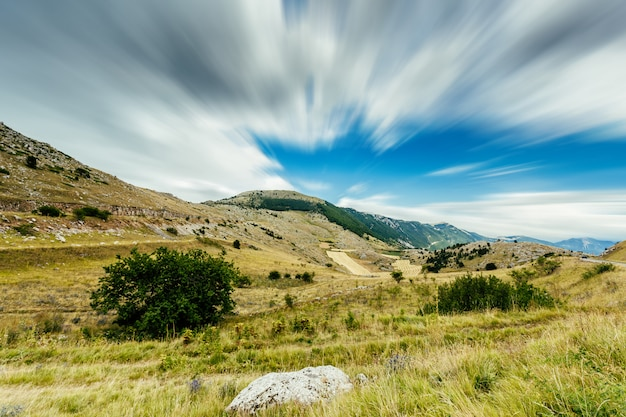 A view from the mountains of abruzzo (italy) near campo imperatore. a beautiful place well known destination for tourists and movie sets. Premium Photo