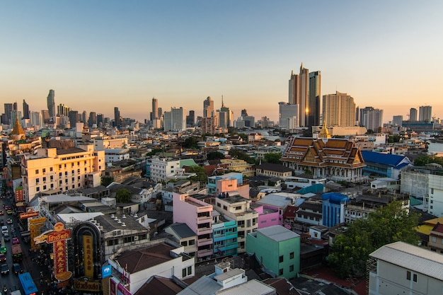Above view from rooftop on china town in the middle of city bangkok, thailand Free Photo