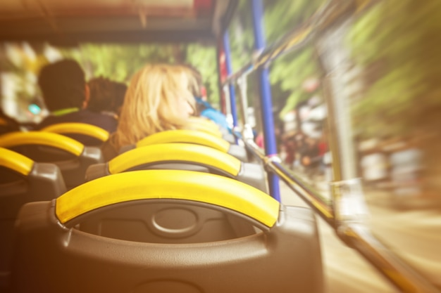 View from sightseeing bus from inside to outside. Motion. Toning. Travel Concept. Free Photo