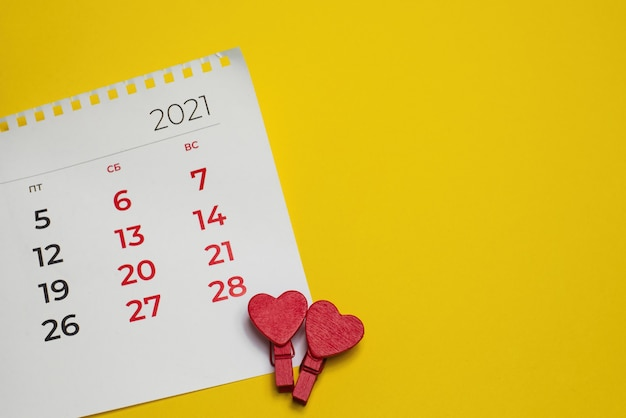 Premium Photo The View From The Top Calendar On 14 02 2021 Valentine S Day