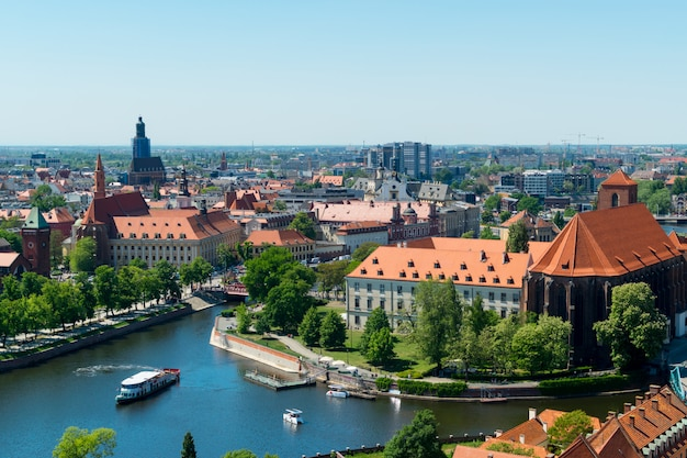 View from the tower on red roofs of the european city Premium Photo
