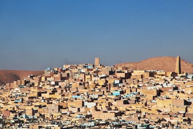 The view on ghardaia city in sahara desert, algeria Premium Photo