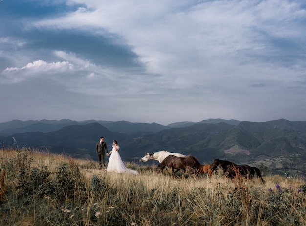 View of groom and bride with the mountain landscape, with horses on the sunny summer day Free Photo