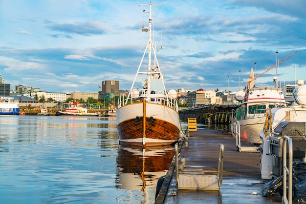 View of the harbor at reykjavik in the morning Premium Photo