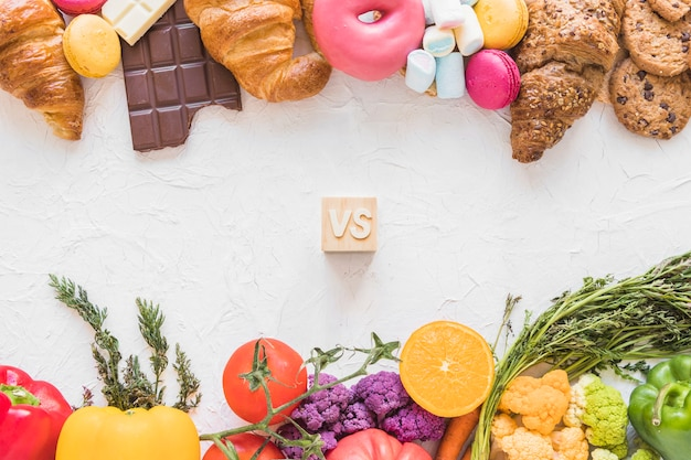 Free Photo View Of Healthy Food Versus Unhealthy Food On White Background