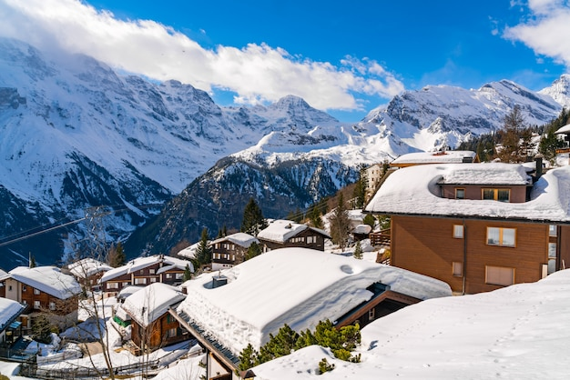 View of the house covered with snow at murren village, switzerland Premium Photo