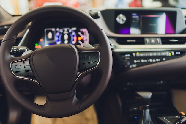 View of the interior of a modern automobile showing the dashboard. Premium Photo