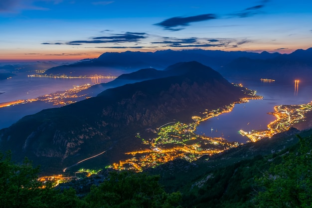 View of kotor bay from a high mountain peak at sunset Premium Photo