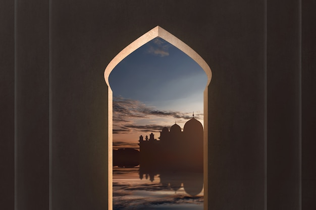 View of mosque silhouette from window Premium Photo