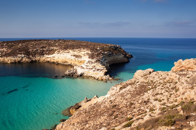 View of the most famous sea place of lampedusa called spiaggia dei conigli, Premium Photo