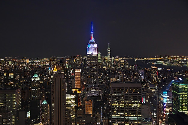 The view on new york at night, united states Premium Photo