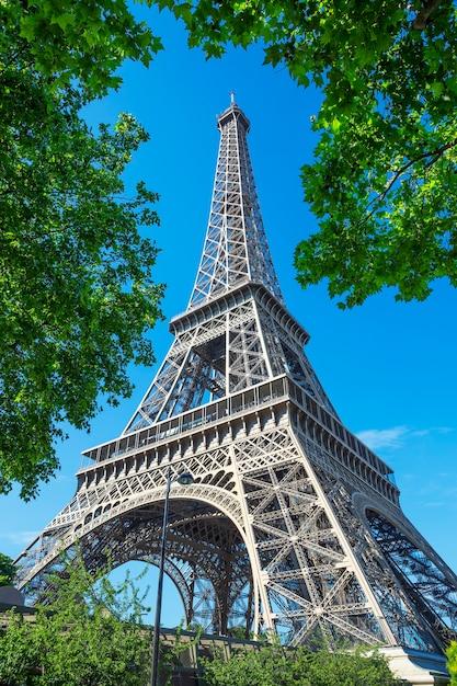 パリのエッフェル塔と木々の眺め 無料写真