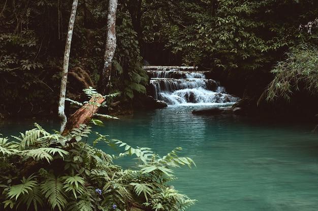 ラオス、ルアンパバーンのクアンシー滝のジャングルにある小さな滝の眺め 無料写真