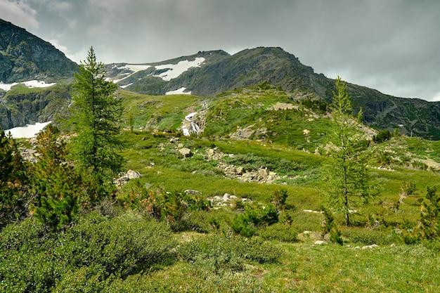 Вид на горные склоны со снегом на вершинах. облачное небо над горными вершинами. хвойный лес, растущий на горных склонах. алтай Premium Фотографии