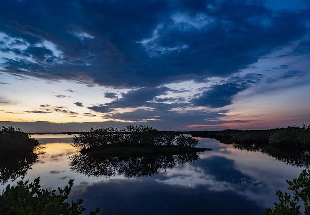 Вид на отражение неба в озере с мангровыми зарослями на космическом побережье флориды на рассвете Бесплатные Фотографии