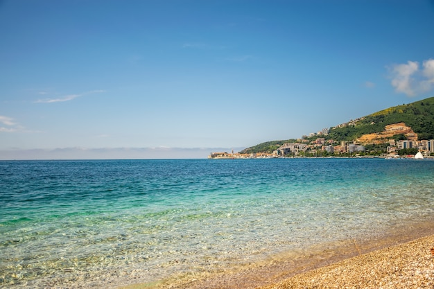 View of the old town from the coast of budva in montenegro. Premium Photo