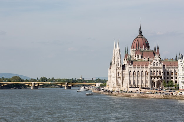 View of parliament and pest city. splendid spring cityscape of budapest Premium Photo