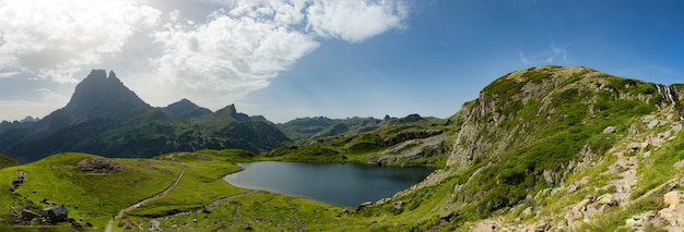 View of the pic du midi d'ossau in the french pyrenees Premium Photo