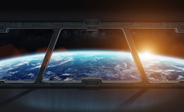 View of planet earth from inside a space station 3d rendering Premium Photo
